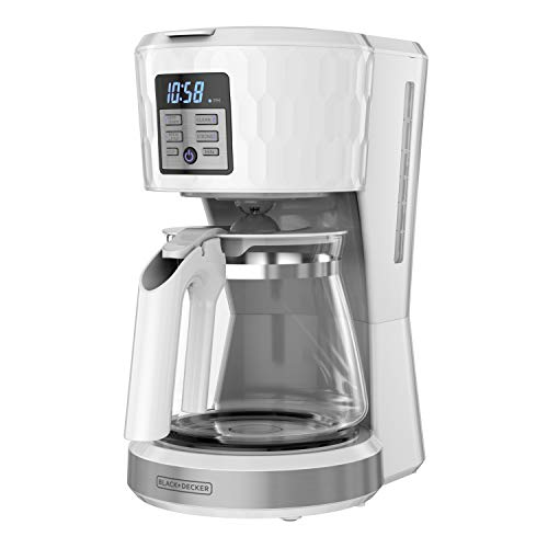 BLACK+DECKER Honeycomb Collection 12-Cup Programmable Coffeemaker, with Premium Textured Finish, CM1251W-1, White