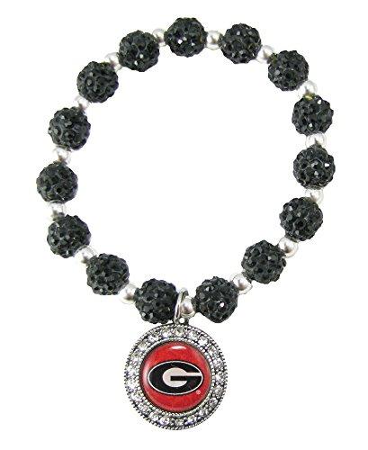 Georgia Bulldogs Black Jeweled Beads Crystal Stretch Bracelet Red Jewelry UGA