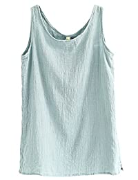 Asher Fashion Womens Summer Casual Linen Sleeveless Blouse Loose Vest Tank Tops