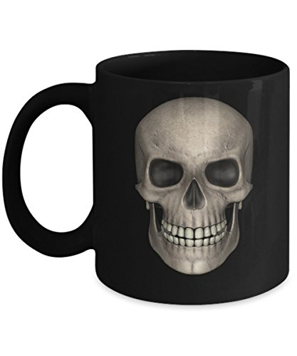 BEST COOL & CREEPY GOTH SKULL COFFEE MUG TEA CUP & PENCIL HOLDER, Interesting Way to Begin Day, Unique and Memorable Gift for Those on the Dark Side -