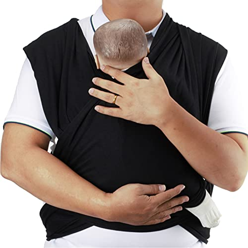 Bebamour Baby Wrap Carrier for Newborn Infants All in 1 Stretchy Baby Sling for 0-16KG Premium Baby Carrier Newborn to Toddler Baby Sling Wrap (Grey)