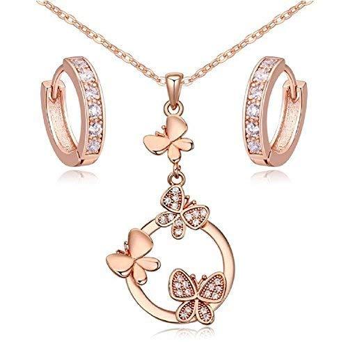 Butterflies Set White Zirconia Crystals Pendant Necklace 18