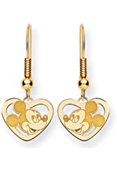 Disney's Mickey Mouse Heart Earrings in 14 Karat Gold