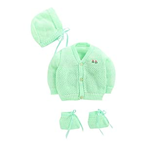Hopscotch Bubbles Boys and Girls Wool Full Sleeves Sweaters in Green Color