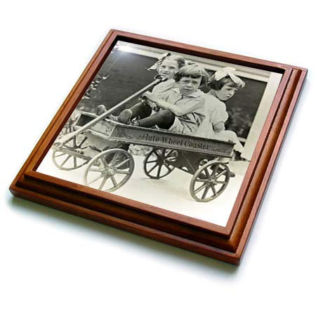 3dRose Scenes from the Past - Magic Lantern - Auto Wheel Coaster Wagon Taking Friends For A Ride Vintage - 8x8 Trivet with 6x6 ceramic tile (trv_301627_1)