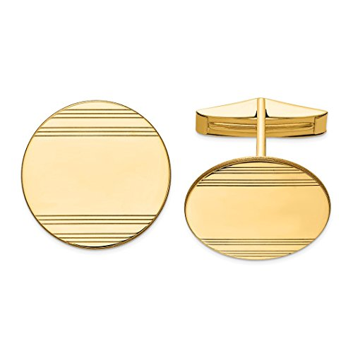 ICE CARATS 14kt Yellow Gold Cuff Links Mens Cufflinks Man Link Fine Jewelry Dad Mens Gift Set (Gold Cufflinks Designer 14k)