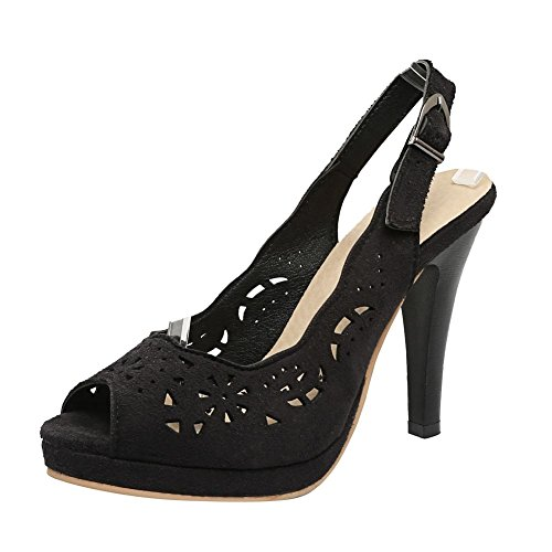 MissSaSa Damen high heel slingback Peep-toe hollow out Plateau Pumps Schwarz