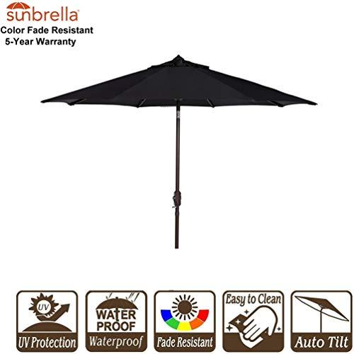 9' Auto Tilt Market Umbrella - Bayside21 Patio Umbrella Outdoor Market Table Umbrella with Auto Tilt Crank Sunbrella Fabric Umbrella Cover 9 Feet, Sunbrella Black (9', Sunbrella Black)