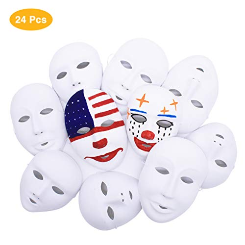 IDGIRLS DIY Cosplay Masks, White Full Face Party Mask (12pcs Boys+12pcs Girls) ()