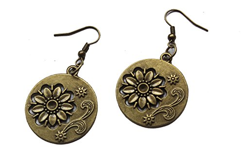 The Round Flowers Antique Bronze Retro Pendant Earrings
