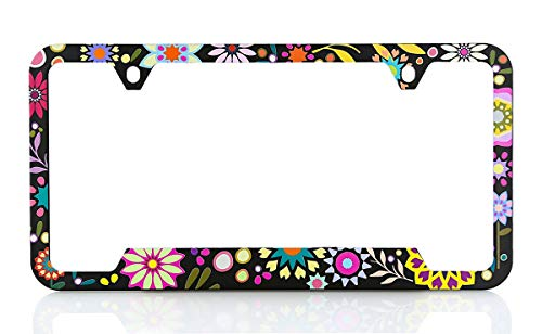Baron Very Pretty & Colorful Retro Flower License Frame. UV Printed and Extremely Durable Unique Design. Standard US & Canada Size. (Flower License Plates)