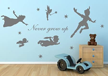 Cartoon Figure Peter Pan Never Grow Up Tinkerbell Removable Wall Decal Art Mural Stickers Kids