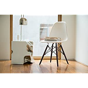 UrbanMod Eames Style Modern Dining Armless Side Chairs (Set of 2) Walnut Legs | Molded White ABS Plastic With Wood & Black Accents Iconic American Mid-Century Styling