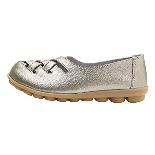 Verocara Womens Tanner Pebbled Leather Flats Boat Shoes Casual Shoes Driving Loafers Gold OTZy7p3Yi