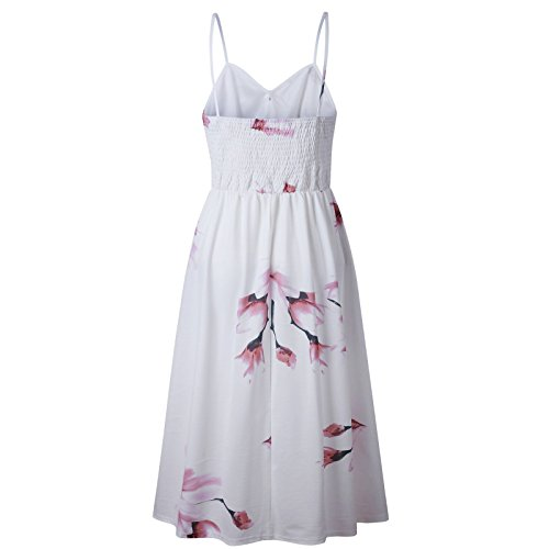 Floral WHITE0860 Summer Backless Beauty7 Print Women Button Beach Dress Casual Strap Midi wZHEEUWPq