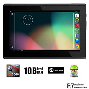 Dragon Touch R7 7'' Google Android 4.1 Dual Core Tablet MID PC, Rockchip RK3066 Dual Core Cortex A9 CPU up to 1.6GHz, 1GB RAM, 16GB HDD, Multi-Touch Screen, Front Camera + Rear Camera, Google Play Pre-Installed, HDMI 1080P Output, Skype Video Calling, Netflix, Flash Supported [By TabletExpress] (16GB Black)