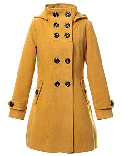 Mujer Chaqueta con Capucha Abrigo Doble Abotonadura Manga Larga Trenca Outwear Amarillo