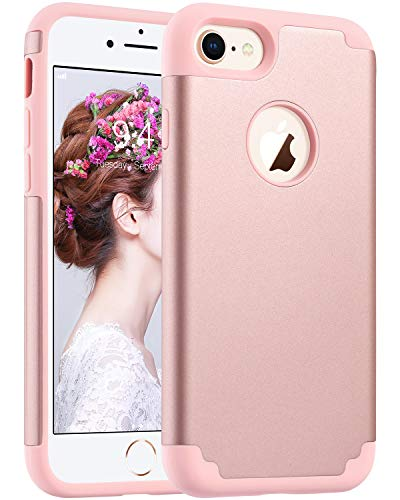 (ULAK iPhone 7 Case for Girls Women, iPhone 8 Case, Slim Fit [ Dual Layer Series ] Soft Silicone & Hard Back Cover Bumper Protective Shock-Absorption & Skid-Proof Anti-Scratch Case, Rose Gold)
