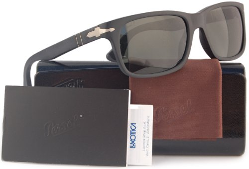 Persol PO3048S Polarized Sunglasses Matte Black w/Crystal Grey (9000/58) PO 3048 900058 58mm - Sunglasses Persols