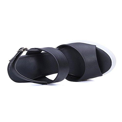 AgooLar Mujeres Puntera Abierta Plataforma Hebilla Sólido Sandalia con Plataforma Negro