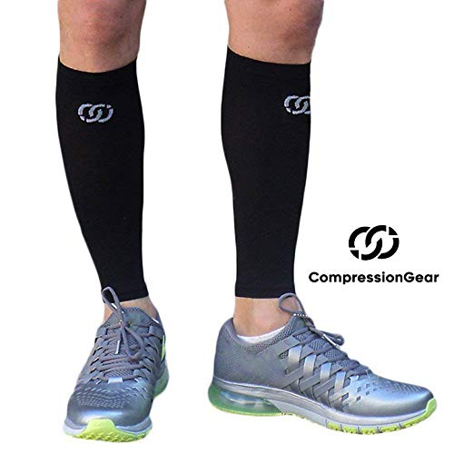 Compressions Calf Sleeve - Best Leg Socks for Shin Splints, Muscle Cramps, Pain Relief - Non-Slip Calf Guard Fits Men & Women's Calves, Great for Basketball, Running, Maternity, Travel