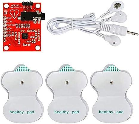 ICQUANZX Módulo ECG ICQUANZX AD8232 EKG medición pulso sensor de frecuencia cardíaca Kit EKG sensor de vigilancia para Arduino con cable Dupont.
