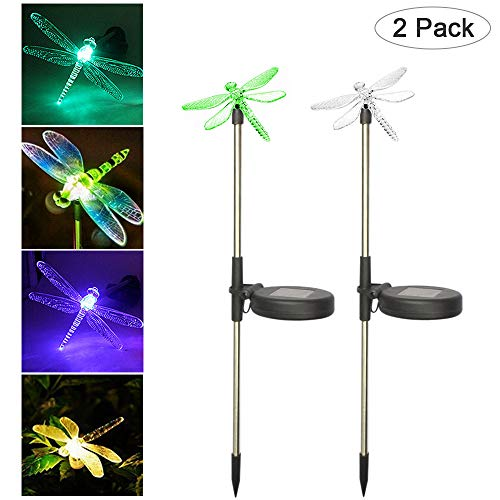 YOUDirect Solar Garden Lights - 2pcs Pack Decorative LED Stake Pathway Lights for Outdoor Garden Lawn Patio Yard Festival with Hummingbird Butterfly Dragonfly 7 color-changing (Dragonfly)