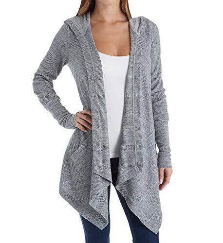 Splendid Women's Thermal Wrap Hooded Cardigan, Gravel Grey Large