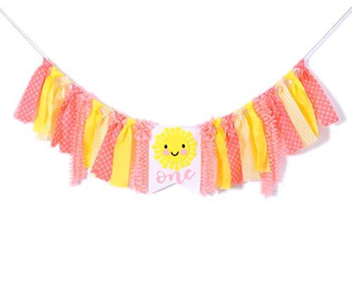 Baby'sSunshineBannerfor1stBirthday-YouareMySunshineHighChairBanner,FirstBirthdayGetTogetherforDecorations,PhotoPropsforBirthdayParty,Girl'sBirthday Souvenir Gifts(Pink Yellow) -