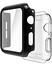 Simpeak [2 Pcs] Case Compatible with Apple Watch 40mm/42mm/44mm Series 5/4/3/2/1 , 1x Hard PC Case w/Build In Screen Protect + 1x Soft Case Silicon Full Protect Cover Compatible for iWatch 40mm/42mm/44mm - Black, Transparent