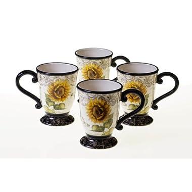 Certified International French Sunflowers Mug, 16-Ounce, Set of 4