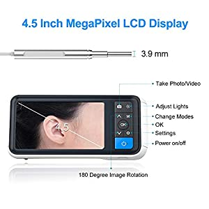 3.9mm Digital Otoscope Cam Pro Ear Cleaning Endoscope, 1280 HD USB Otoscope with 4.5 Inch Visual Screen as Ear Infection Checker Ear Cleaning Camera with 32G Card, Speculum Tips, Ear Wax Removal Tools (Tamaño: 18 Piece Set)