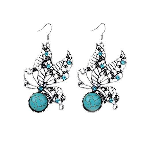 Move on Women Hollow Butterfly Pendant Faux Turquoise Necklace Hook Earrings Party Jewelry ()