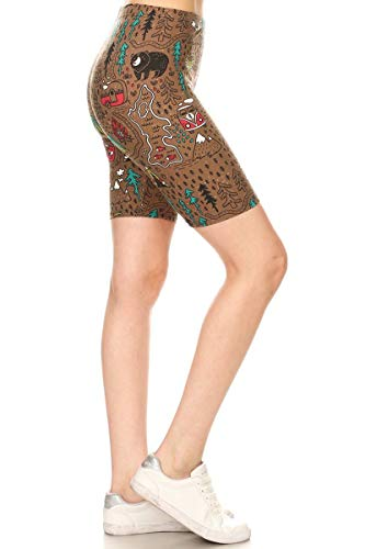 Womens Trail Short - Leggings Depot LBK-R884-M Camper's Trail Printed Biker Shorts, Medium