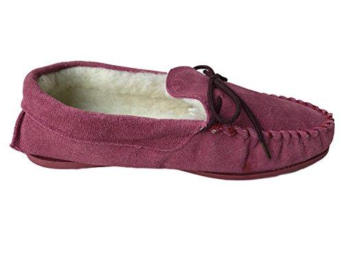 KURU - Zapatillas de estar por casa de Ante para mujer rojo Burgandy Fur 39