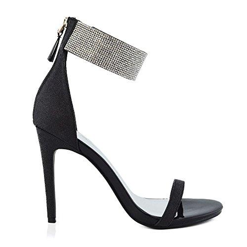 ESSEX GLAM Damen Stiletto Absatz Knöchelriemen Schuhe mit Strass Glitzer Offener Zehe Riemchensandalen mit Reißverschluss Schwarz Glitzerstaub