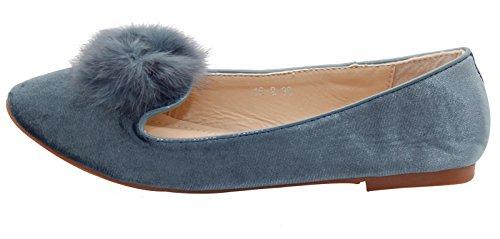 Women Pom Pom Flat Loafer Dolly Velvet Ballerina Ballet Shoe Grey FRljhQv