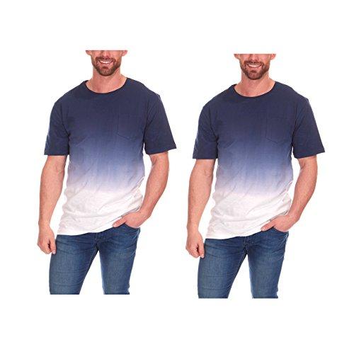 Dye Check Shirt - Cargo Bay Mens Dip Dye Ombre T-Shirt with Check Pocket 2 Pack Indigo XL