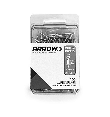 Medium Steel Rivet (Arrow Fastener RMS1/8IP Medium Steel 1/8-Inch Rivets, 100-Pack)