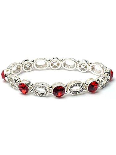 Topwholesalejewel Silver Red Crystal Rhinestone Oval Shape Stretch Bracelet
