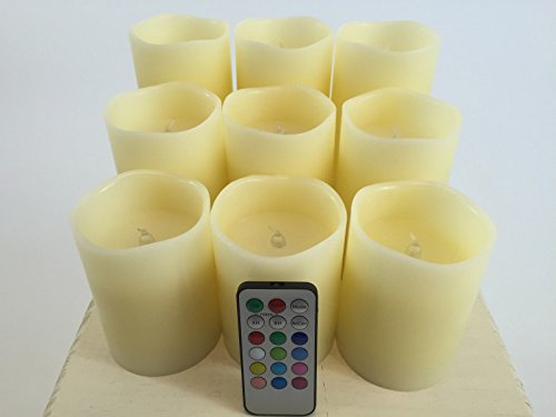 """Set of 9 Flameless Mulit-colored """"Flame"""" Ivory Pillar Candle"""