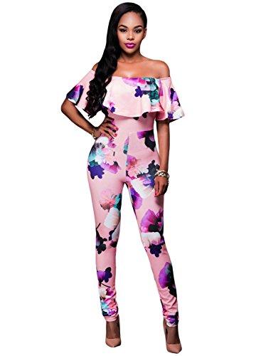 Mesdames rose et multi couleur Motif floral épaule Off Combinaison Clubwear Vêtements Taille S 8–10EU 36–38
