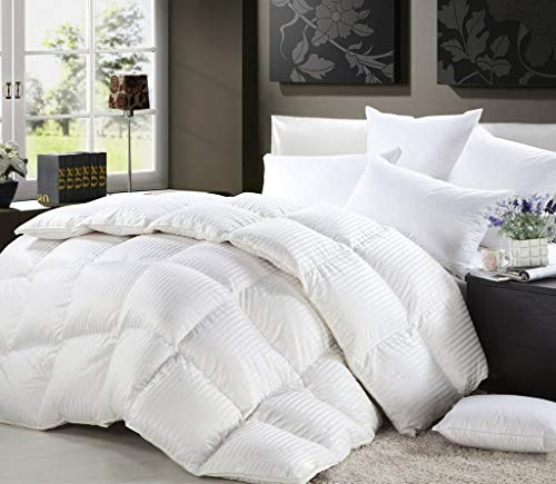 Luxurious Queen Size Siberian Goose Down Comforter All-Season Duvet Insert, Premium Baffle Box, 1200 Thread Count 100% Egyptian Cotton, 750+ Fill Power, 50 oz, 90 x 90 inches, White Damask Stripe