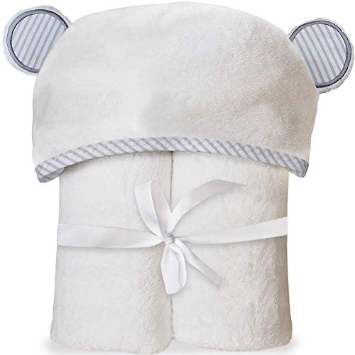 Organic Bamboo Hooded Baby Towel - Soft, Hooded Bath Towels with Ears for Babies, Toddlers - Hypoallergenic, Large Baby Towel | Perfect Baby Shower Gift for Boys and Girls by San Francisco Baby ()