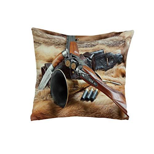 YOLIYANA Hunting Decor Comfortable Pillow,Hunting Materials on Fur Rifle Ammunition Cartridge Knife Sheath Decorative for livingroom,One Size