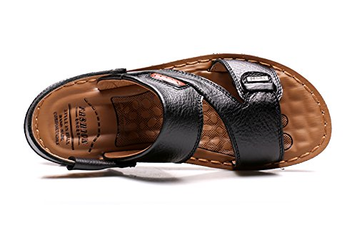 No.66 Town Mens Beach Shoes Slipper Leather Sandals Black x4pPDwf1MS