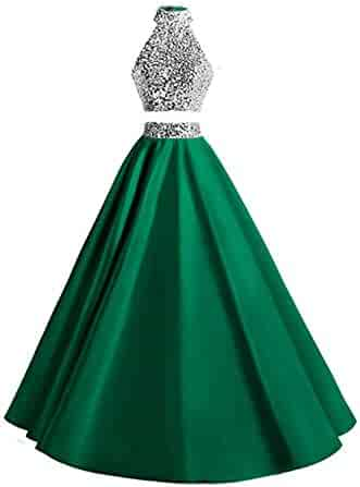 49a00918202 Ri Yun Two Piece Halter Prom Dresses 2018 Long Satin Sequins Formal Evening  Party Ball Gowns