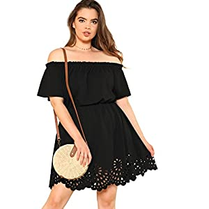Romwe Women's Plus Size Off The Shoulder Hollowed Out Scallop Hem Party Short Dresses