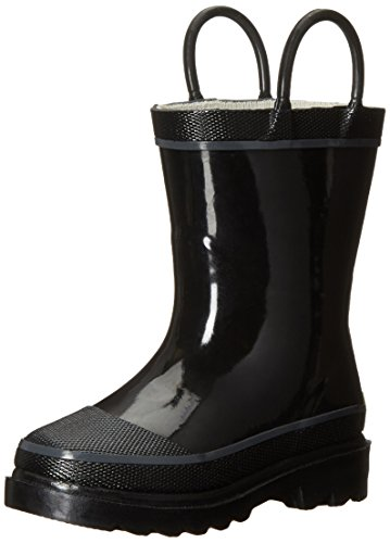 Western Chief Kids Waterproof Rubber Classic Rain Boot with Pull Handles, Black, 4 M US Big Kid