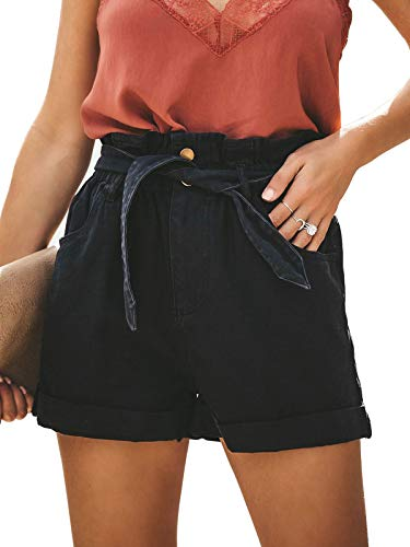 - Govc Womens Elastic High Waist Cotton Jean Shorts Pocketed Paper Bag Loose Denim Short with Waist Tie(Black,M)